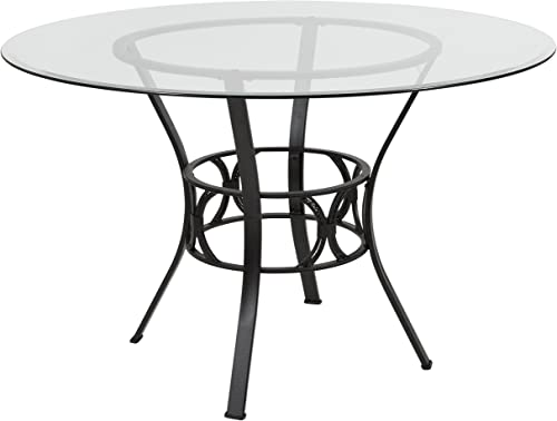 Flash Furniture Carlisle 48 Round Glass Dining Table with Black Metal Frame