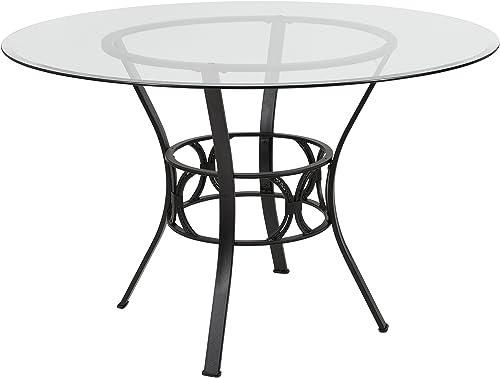 Flash Furniture Carlisle 48 Round Glass Dining Table with Black Metal Frame