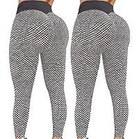 2 Pack TIK Tok Leggings Vrouwen Yoga Broek Running Workout Leggings Hoge Taille Butt Lifting Bubble Hip Lift