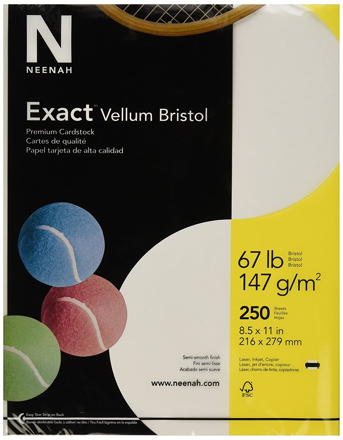 "Exact 80218 Vellum Bristol Paper, 8-1/2"" x 11"" Size, 2"" Height, 8.5"" Width, 11"" Length, White (Pack of 250): Industrial & Scientific"