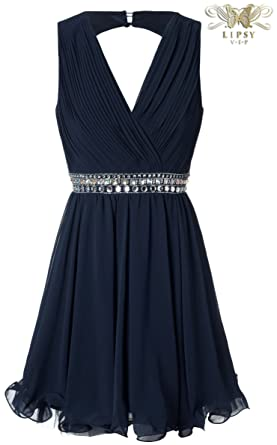 Lipsy VIP Jewelled Bust Prom Dress in Navy Blue (UK 16)