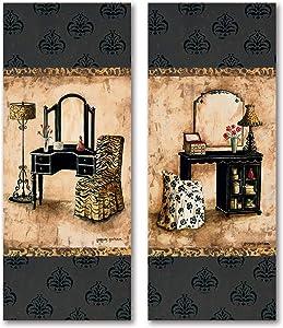 2 Popular Vintage Vanity Panels with Animal Print; Two 8X20 Poster Prints