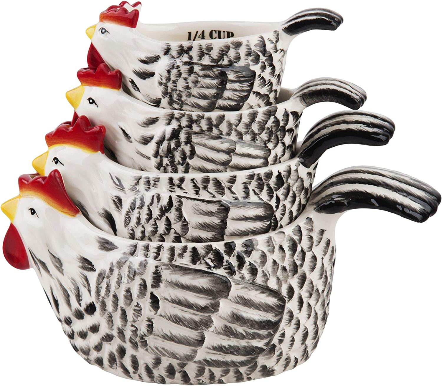 Home Essentials Rooster Shaped Measuring Cups - S/4