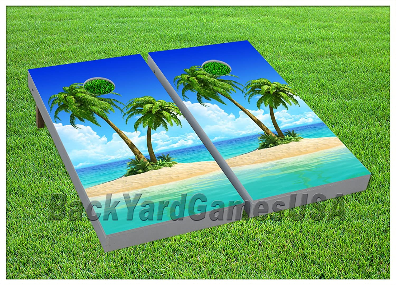 Cornhole Beanbag Toss Game Wゲームボード島ビーチバッグOceanツリーセット934   B0777YXRKN