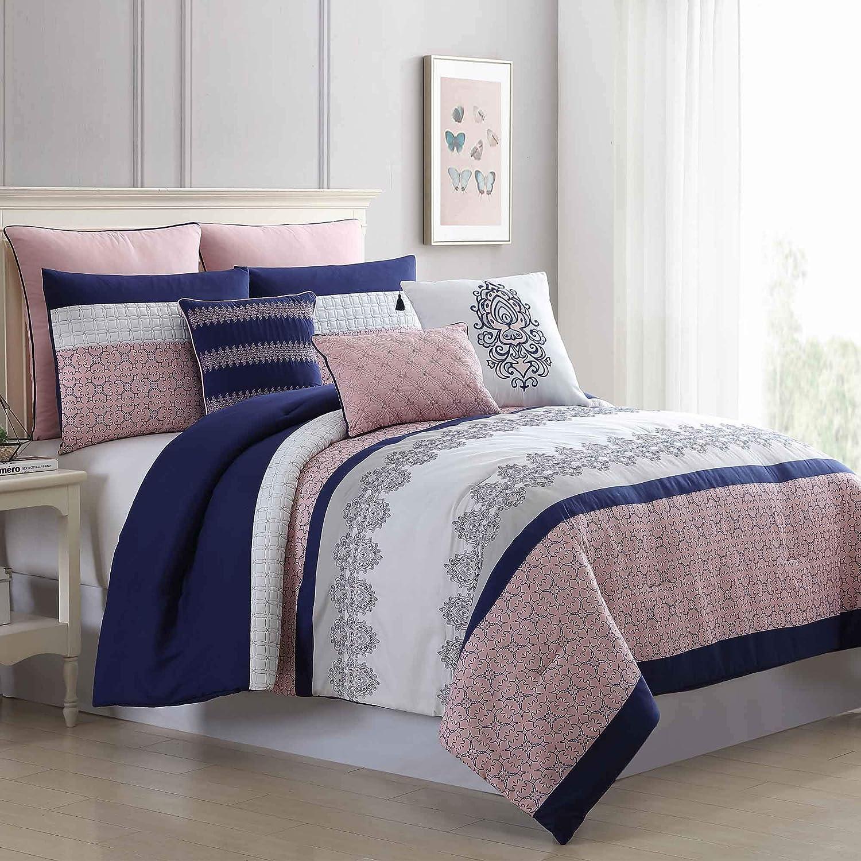 Amrapur Overseas 8-Piece Embroidered Serina Comforter Set, Pink/Navy, King/California King