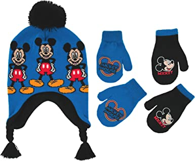 Boys Cuff Beanie Ages 2-5 Black//Red Mickey Mouse Winter Hat and Glove Set