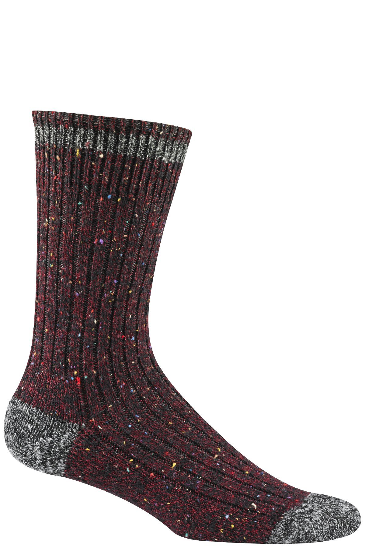 Wigwam Men's Fireside Authentic Classic Retro Fashion Crew Sock, Burgundy, Large with a Helicase brand sock ring