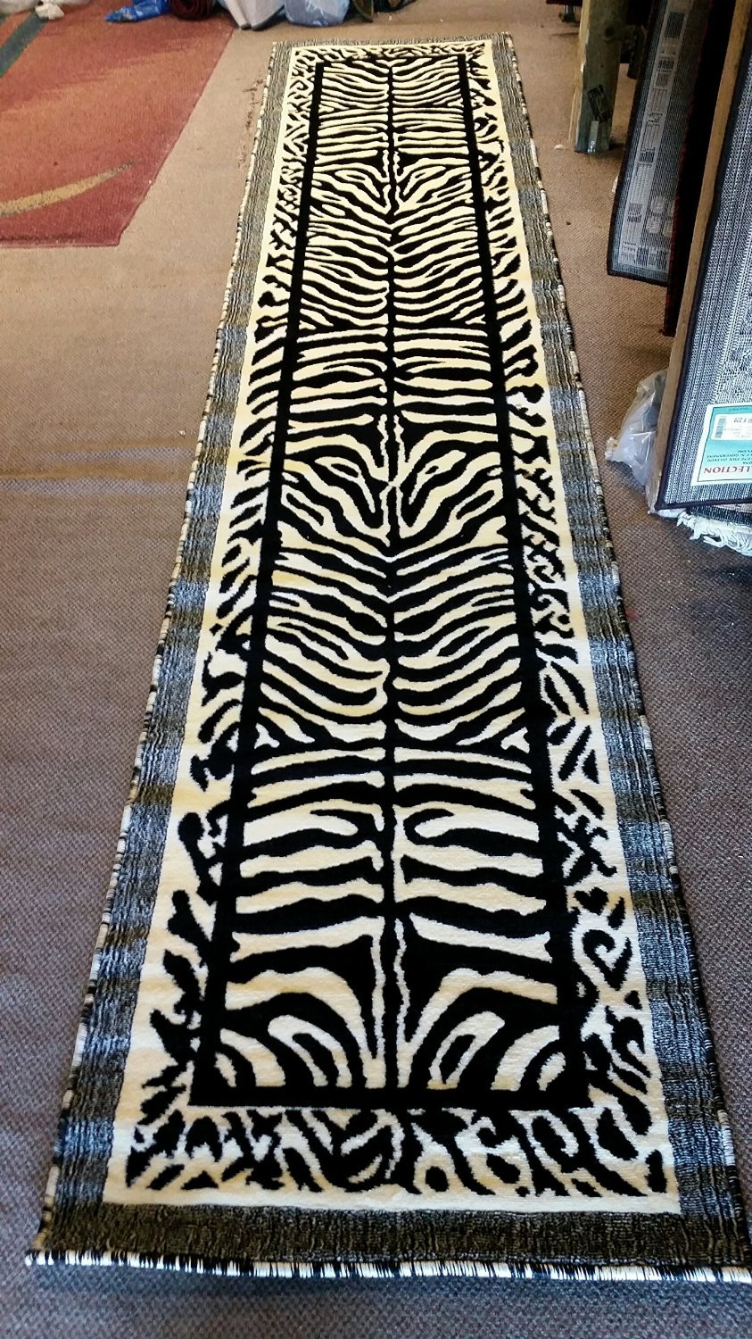 Kingdom Zebra Animal Skin Print Runner Rug Black & Off White Design D142 (2ft.x7ft.)