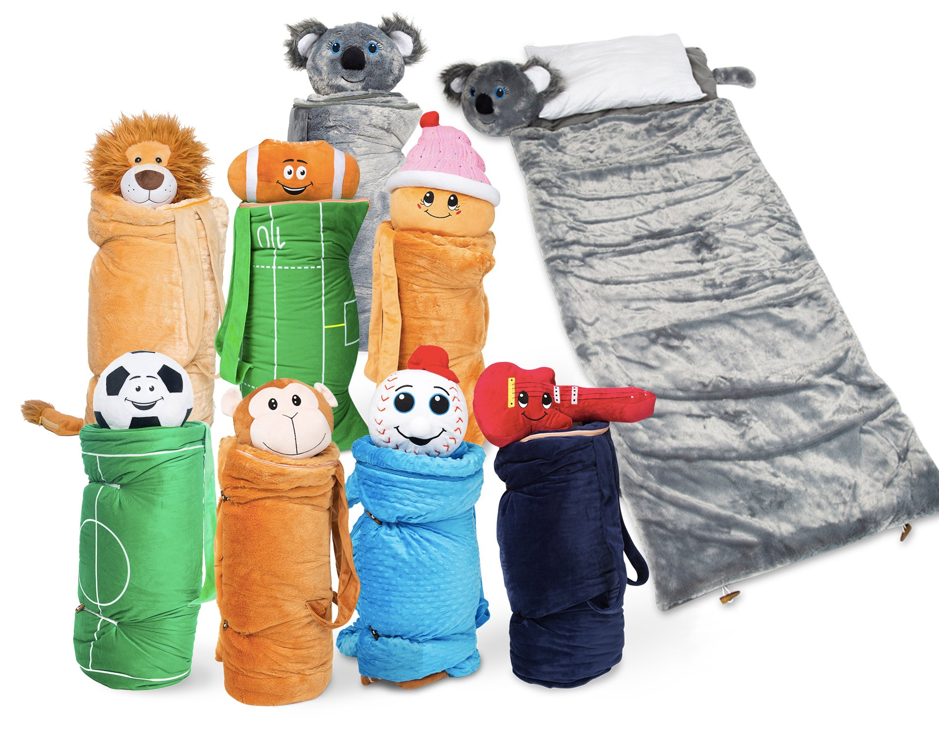 Super Fun & Unique Sleeping Bag/Overnight Travel Kit for Kids| Buddy Bagz's All in 1 Travelling-Made-Easy Solution Complete W/Stuffed Animal, Pillow, Sleeping Bag, Toiletry Overnight Bag (Monkey)