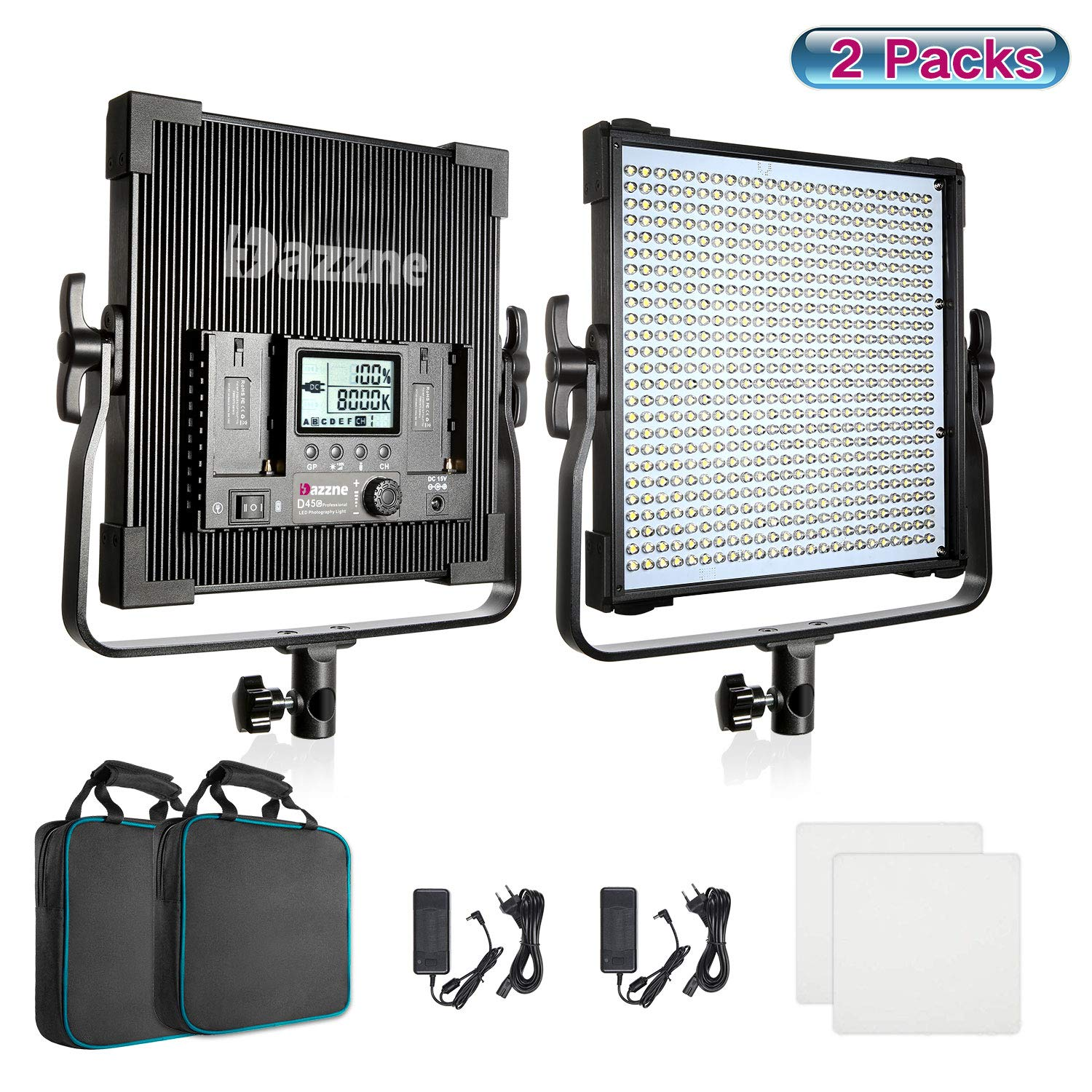 Bi-Color LED Video Lighting Kit Photography Panel 3000K-8000K 45W 19000 Lux TLCI 96 Dimmable for Studio YouTube Video Shooting Film Photo Twitch Live Stream Vlog Green Screen Lighting High Brightness