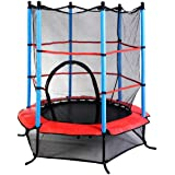 """Giantex 55"""" Round Kids Mini Jumping Trampoline W/ Safety Pad Enclosure Combo (Multicolor)"""