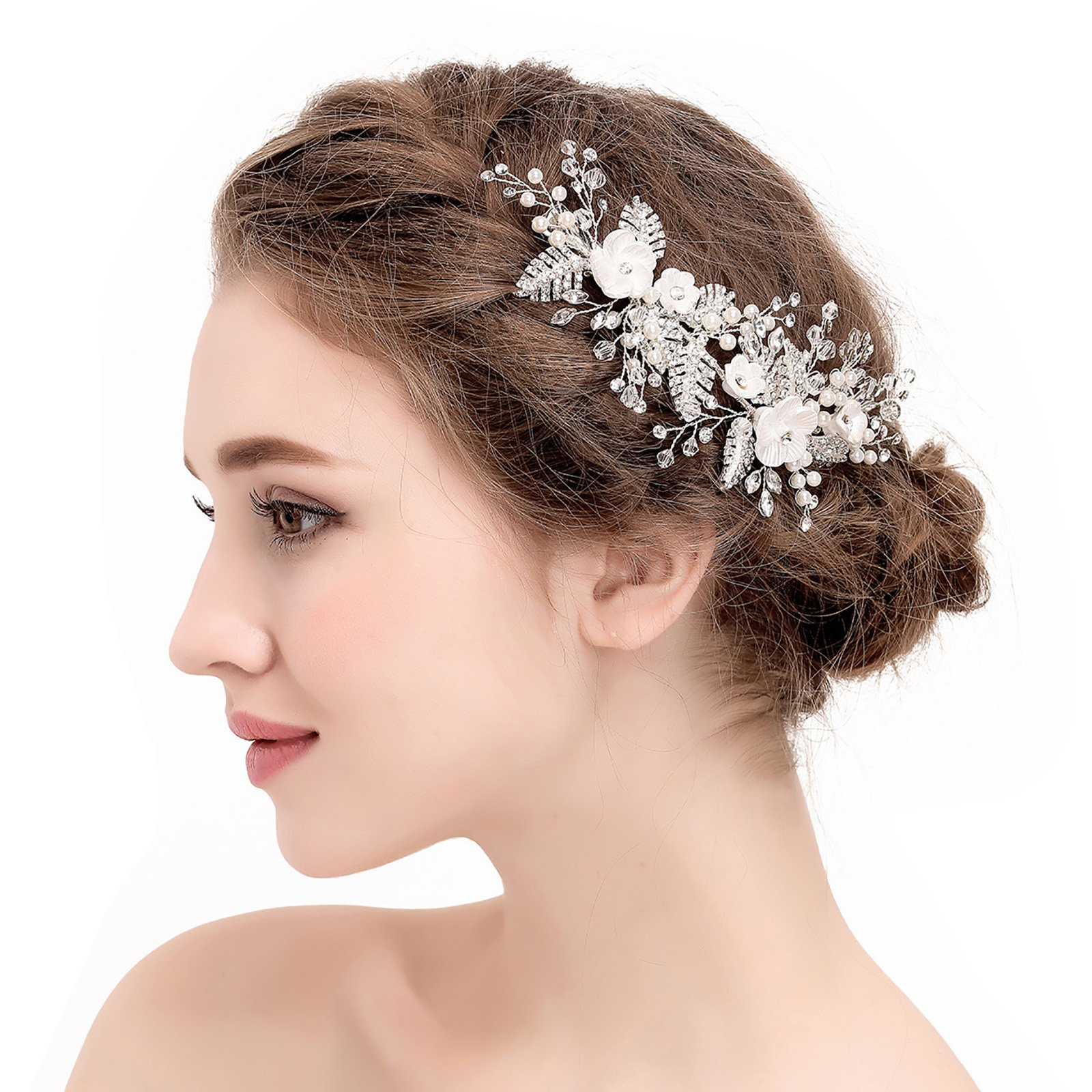 SWEETV Handmade Wedding Hair Clip Pin Pearl Comb Rhinestone Barrette Floral Women Hair Jewelry