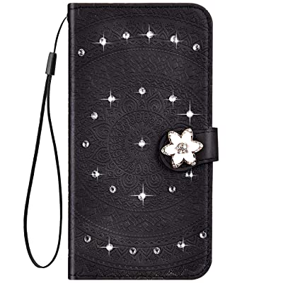 IKASEFU Compatible with Samsung Galaxy A20 Case Glitter mandala Floral Rhinestone Crystal Pu Leather Diamond Bling Wallet Strap Case with Card Holder Magnetic Flip Protective Cover Case,black: Musical Instruments