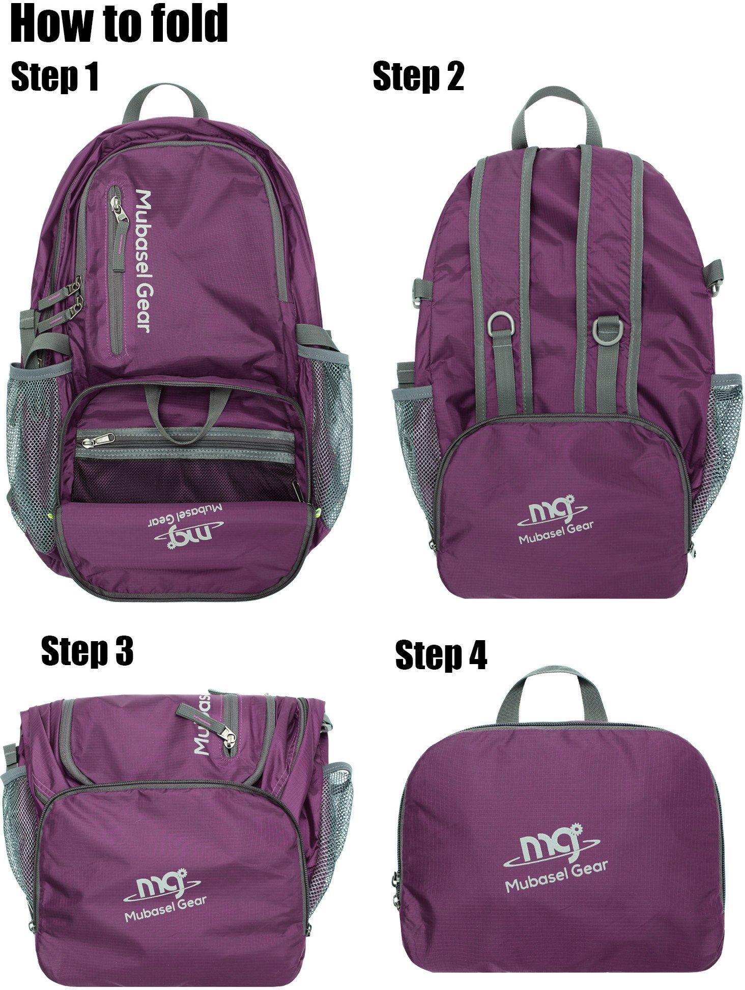 Mubasel Gear Backpack - Lightweight Backpacks for Travel Hiking - Daypack for Women Men (Purple) by Mubasel Gear (Image #6)