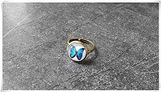 Blu farfalla anello, farfalla anello, anello regolabile, bronzo, anello delicato primavera, estate, gioielli Elf House L007