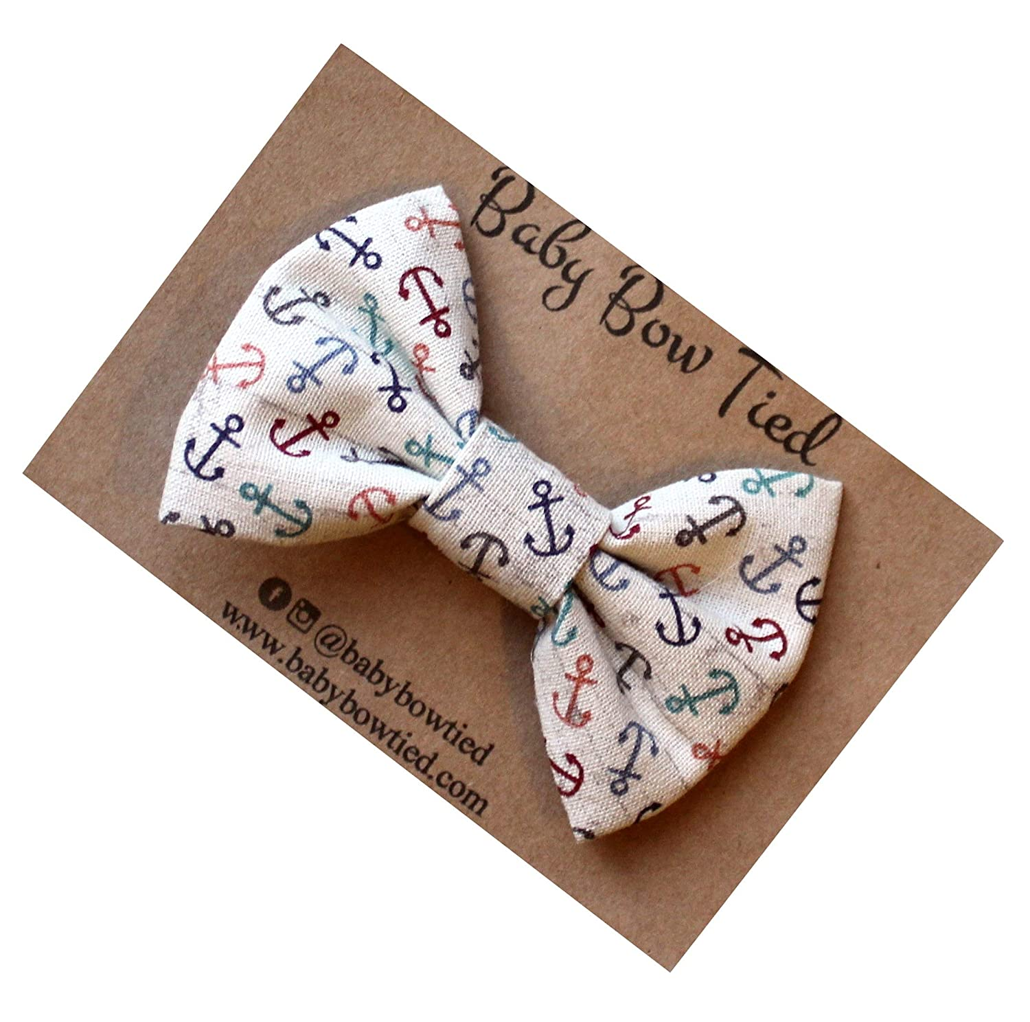 Handmade Anchor Pre-tied Clip on Bow Tie for Baby/Toddler
