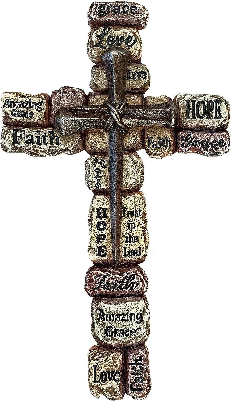 Inspirational Bible Sayings Wall Cross, Realistic Faux Stones & Iron Nails - Jesus Art Wall Decor