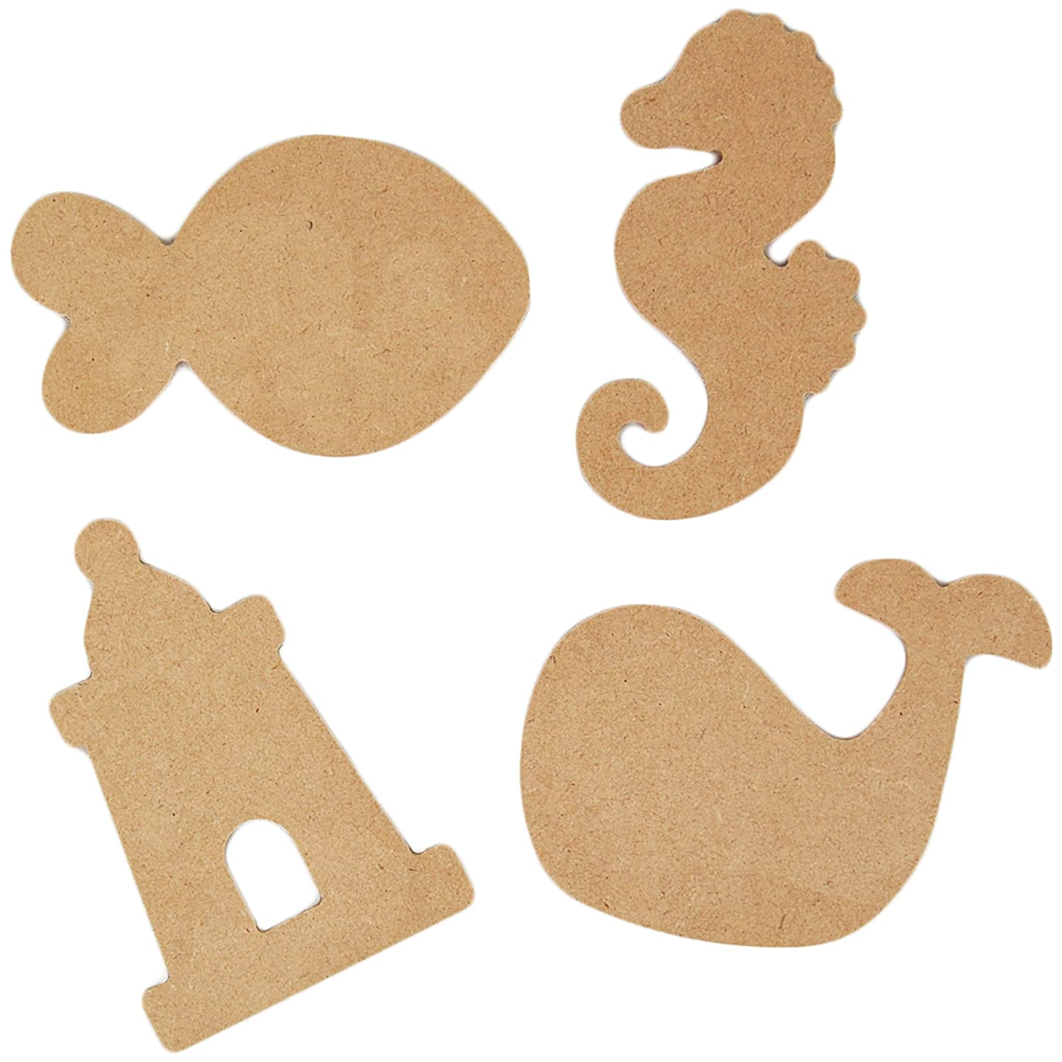 Country Love Crafts 4 Sea Life Themed Wooden Craft Blanks, Light Brown CLW0017