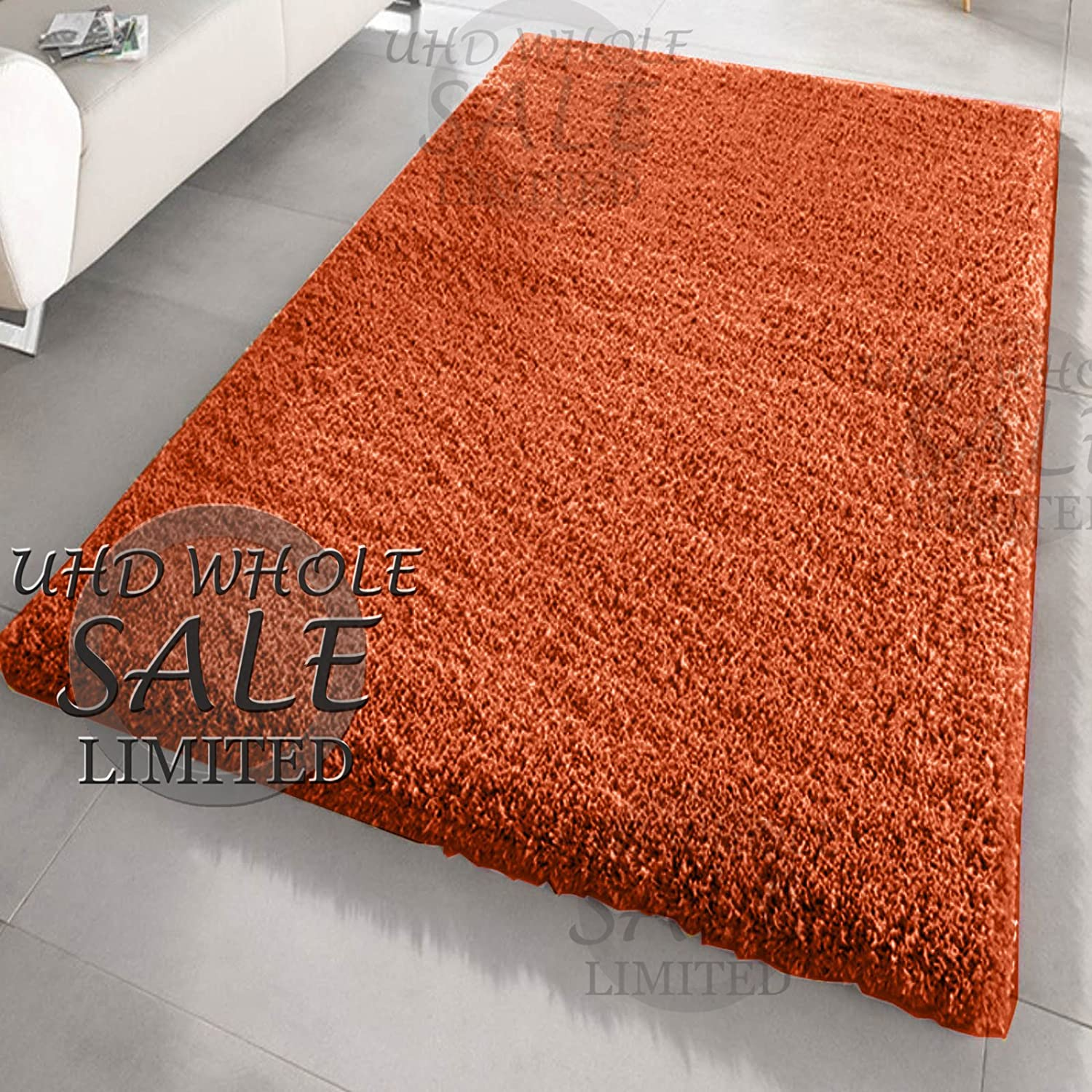 FB FunkyBuys® Large Small Modern Soft Touch Shaggy Thick Luxurious 5cm Dense Pile Bedroom Rug - Available in 12 Vibrant Colors & 4 Sizes (Black, 66 x 110 cm)