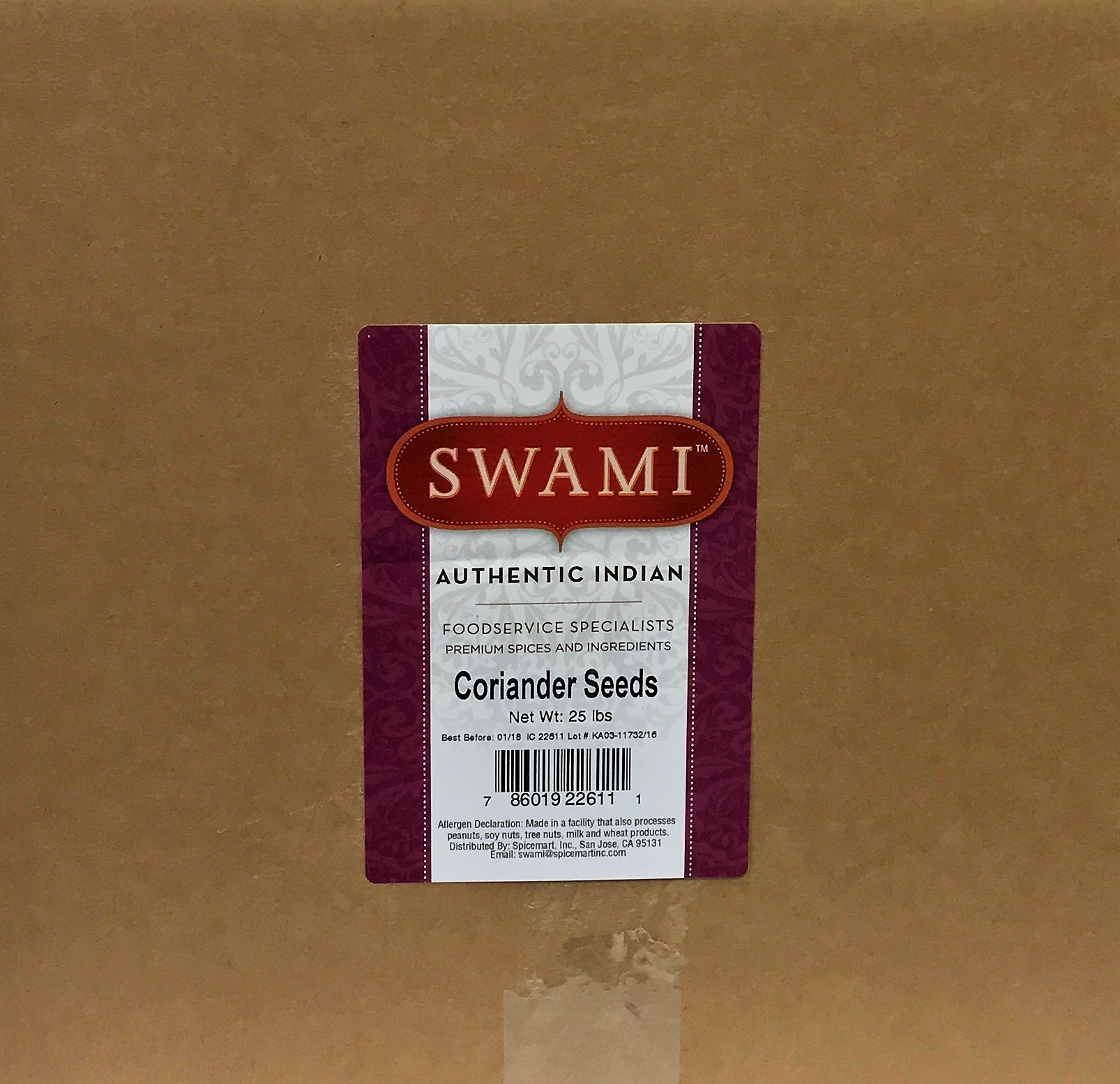Swami Coriander Seeds- Indian, 25lbs by Spicemart