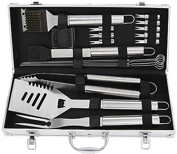Conjunto de regalo de herramientas de parrilla de barbacoa de acero inoxidable POLIGO 19pcs, accesorios