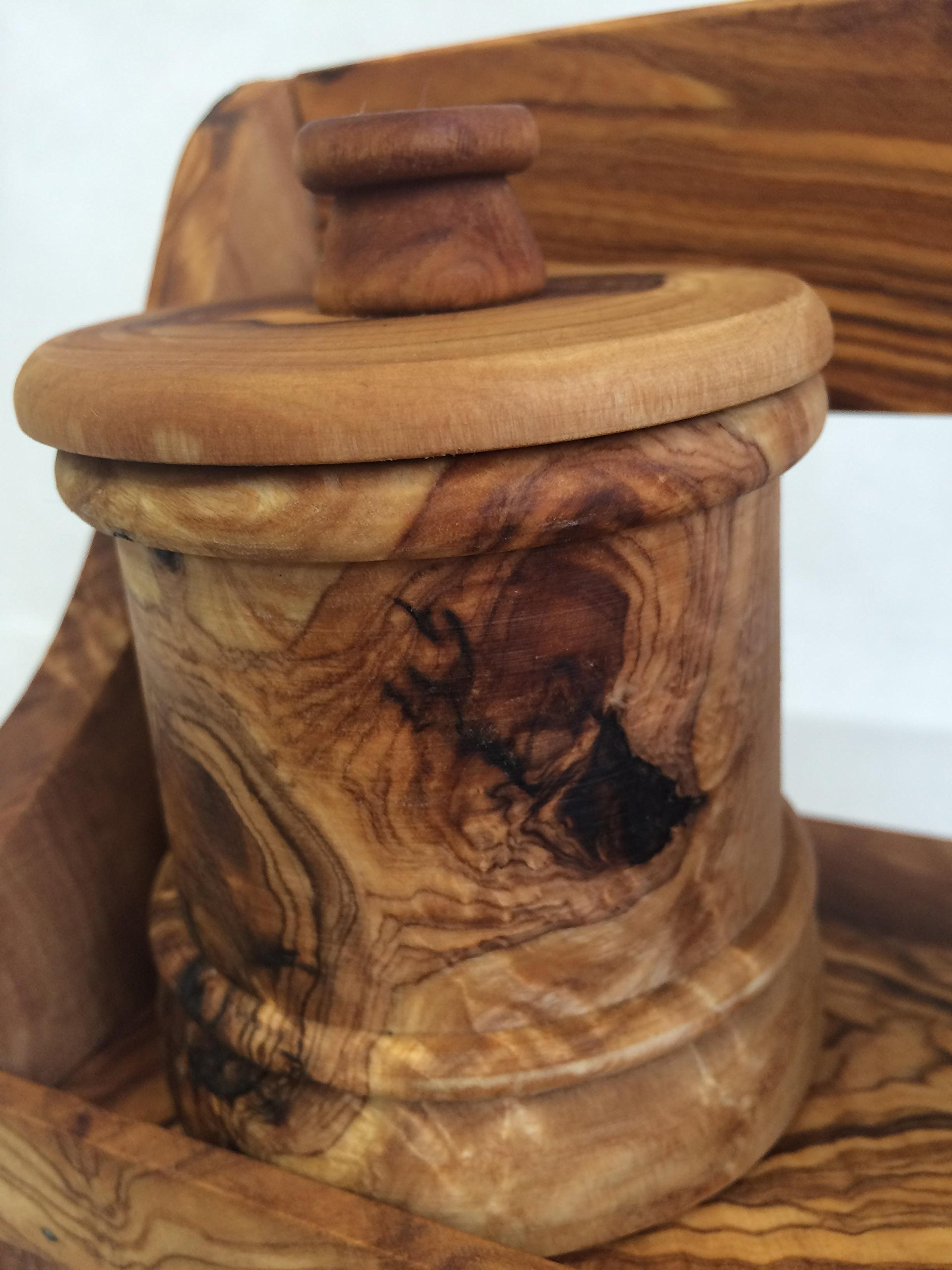 Olive Wood Spice Rack with 8 Jars by Alissar International (Image #3)