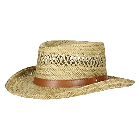 dbfcde7b9b8 Dorfman Pacific Mens Rush Straw Lightweight Casual Wide Brim Gambler Hat