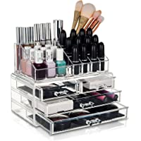 GLAMSMACKED Clear Acrylic Cosmetic Organiser Display Table Storage Stand for Make Up, 4 Drawer Nail Polish, Varnish, Arts and Crafts, Brush Sets, and Jewellery