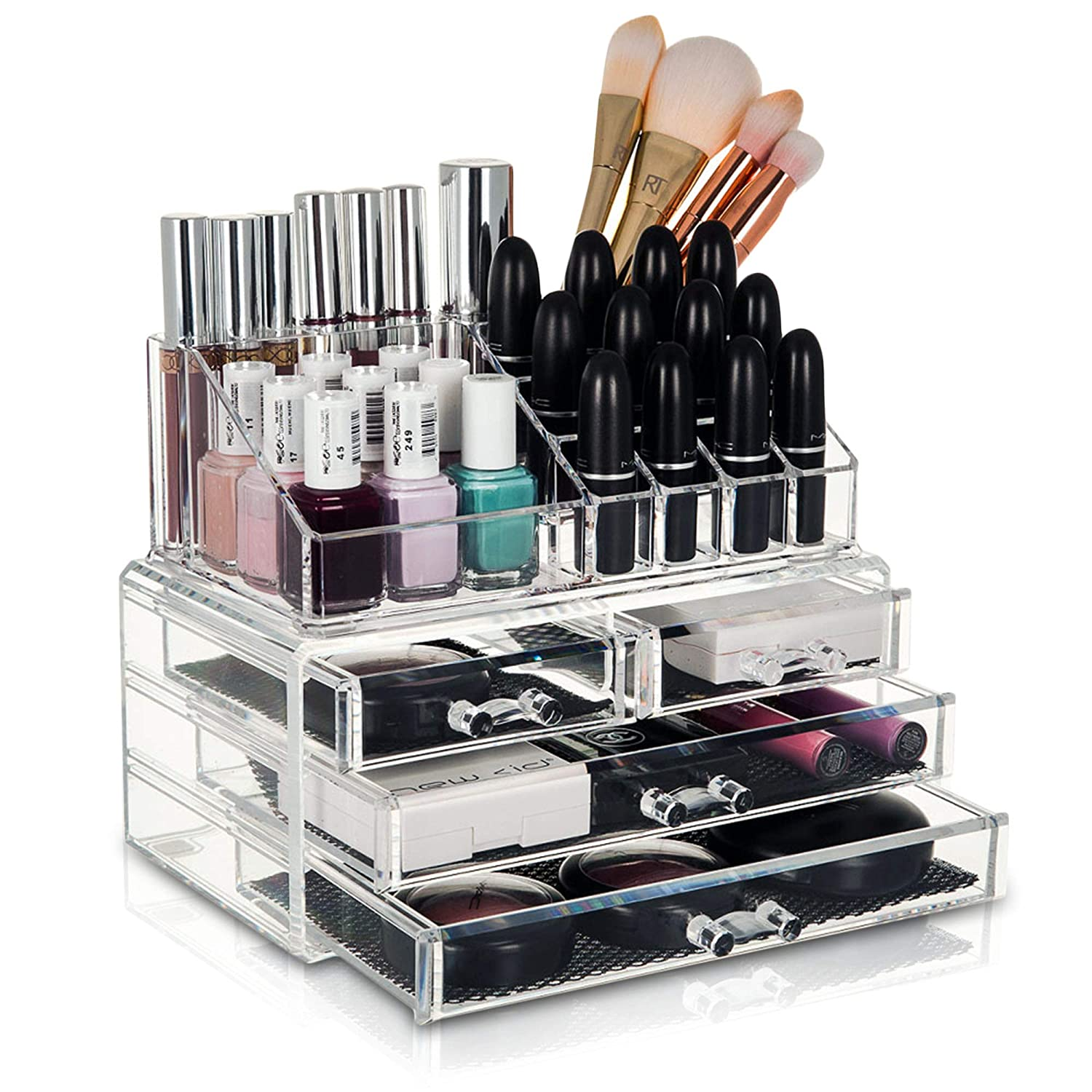 GLAMSMACKED Black Acrylic Cosmetic Organiser Display Table Storage Stand for Make Up, 4 Drawer Nail Polish, Varnish, Arts and Crafts, Brush Sets, and Jewellery