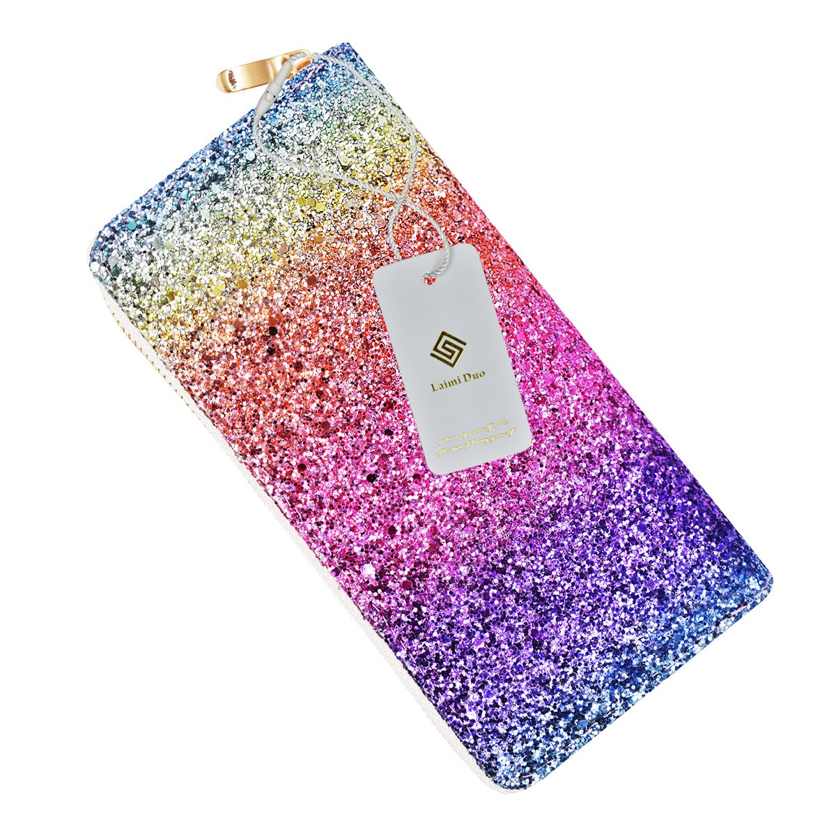 Ombre Bling Glitter Wallet Womens RFID Blocking Leather Purse Handbag Party Clutch Card Organizer for Women Purse (RAINBOW)