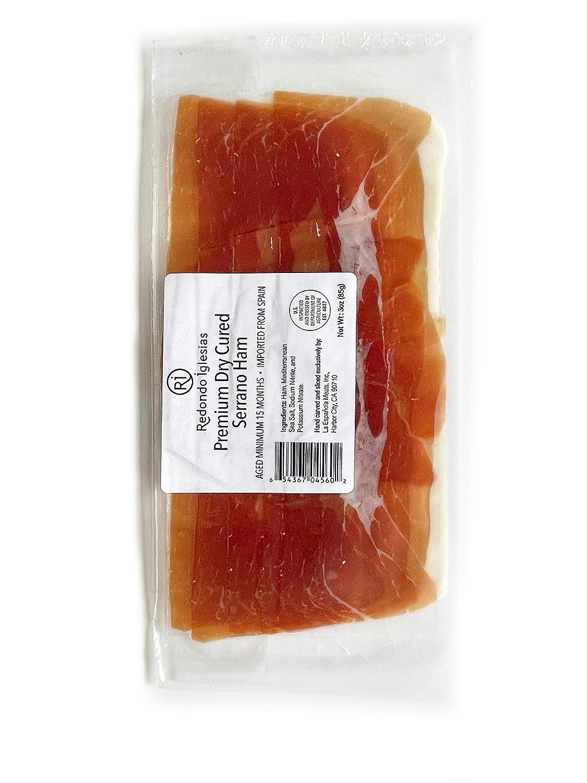 Jamon Serrano Sliced 3 oz - 15 months aged dry cured ham - Spanish Gourmet Delicatessen - SPAIN