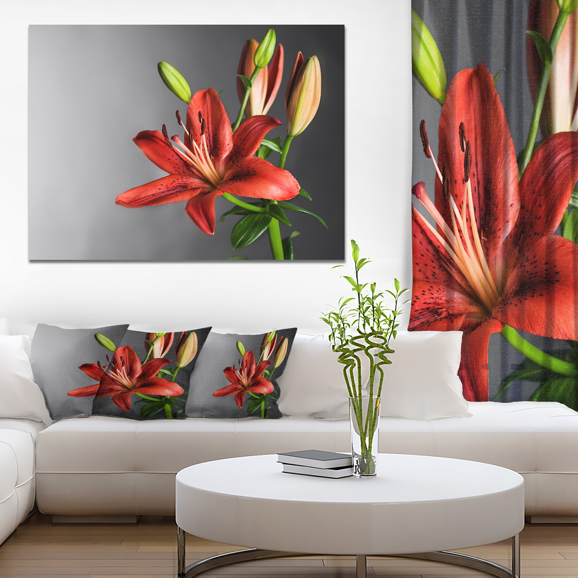 Cute Red Lily Flower over Black Flowers Canvas Wall Artwork by Design Art