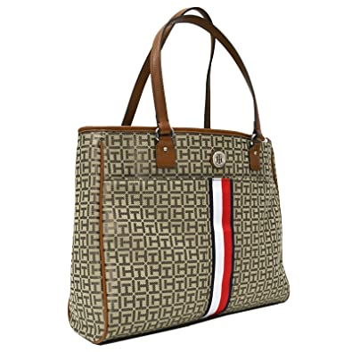 2166468af50 Amazon.com: Tommy Hilfiger Tote Purse With Signature Stripe (Brown ...