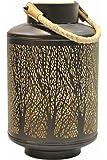 levandeo Windlicht H x B: 32x20cm Metall Schwarz Gold Design Laterne Garten Deko