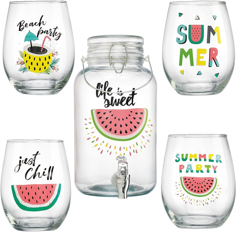 Home Essentials Vanilla Life is Sweet Beverage Dispenser with 4 Glasses 5-piece Set, 1 Gallon