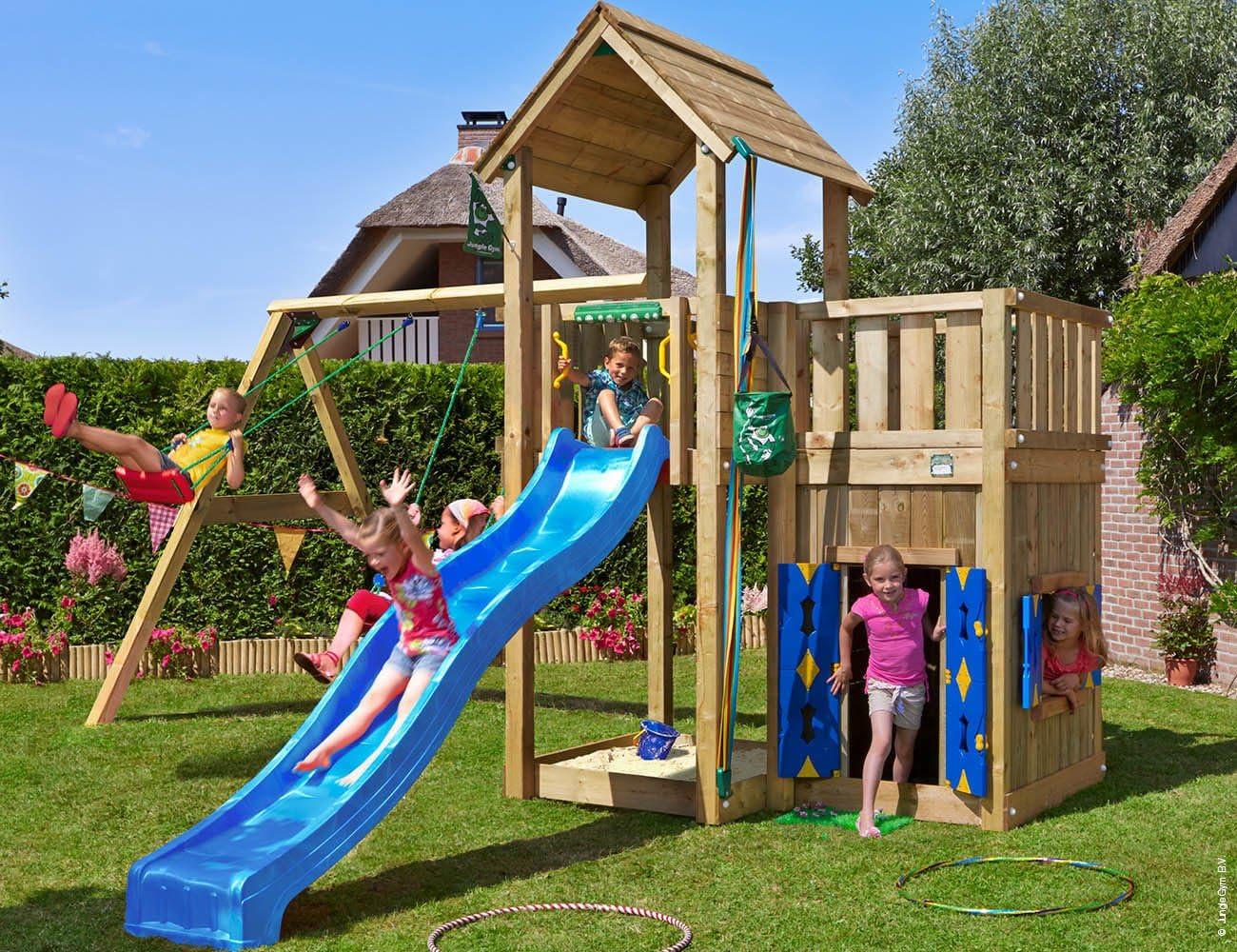 Jungle Gym Mansion Playhouse & 2-Swing Azul Casitas Infantiles de Madera para Jardin con Tobogan y Columpios: Amazon.es: Juguetes y juegos