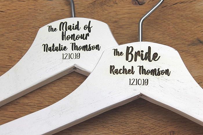 Hanger Engraved Wedding Gift Bride Bridesmaids and more. Personalised Bridal Wedding Hanger in White