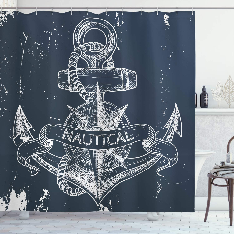 Ambesonne Marine Shower Curtain, Nautical Knot Compass Anchor Pattern Sea World Ocean Life Grunge Illustration, Cloth Fabric Bathroom Decor Set with Hooks, 70