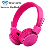Volume Limited + Wireless Bluetooth Kids Headphones, Termichy wireless/wired Foldable Stereo over-Ear headsets with music share port and Built-in Microphone for calling, children Bluetooth Earphones for smartphones PC music gaming.