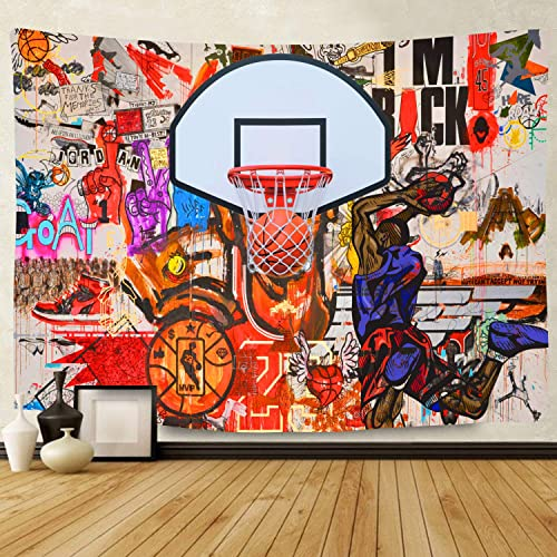 F-FUN SOUL Street Basketball Tapestry, Large 80x60inches Soft Cotton, Graffiti Wall Hip Hop Hippie Wall Hanging Tapestries for Living Room Bedroom Decor Party Banner GTLSFS37