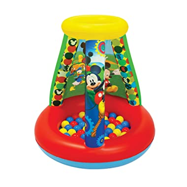 Mickey Mouse Club House Follow Mickey Ball Pit, 1 Inflatable & 15 Sof-Flex Balls, Red/Yellow, 28 W x 28 D x 33 H