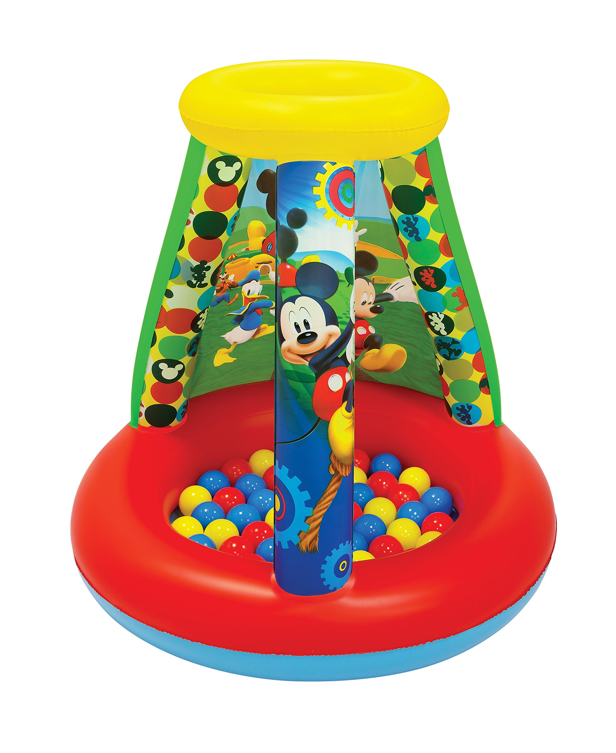 Mickey Mouse Club House Follow Mickey Ball Pit, 1 Inflatable & 15 Sof-Flex Balls, Red/Yellow, 28'' W x 28'' D x 33'' H