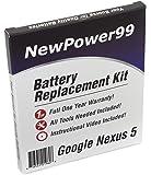 Kit de Reemplazo de la Batería para Google Nexus 5 (LG Nexus 5, Nexus 5) Tablet con Video de Instalación, Herramientas y Batería de larga duración