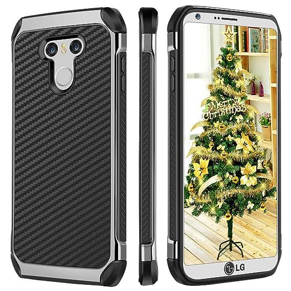 BENTOBEN LG G6 Case, LG G6 Plus Case, Slim Dual Layer Hybrid Hard PC Soft  TPU Bumper Cover with Carbon Fiber Texture Shockproof Anti-Slip Full