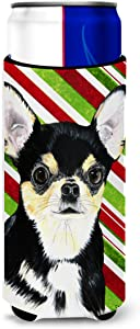 Caroline's Treasures SC9359MUK Chihuahua Candy Cane Holiday Christmas Ultra Beverage Insulators for slim cans, Slim Can, multicolor
