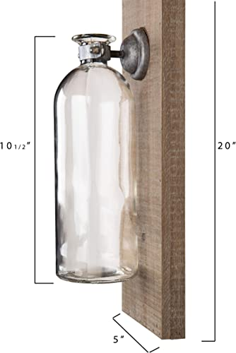 Creative Co-Op Rectangle Wood Wall D cor with Glass Vase