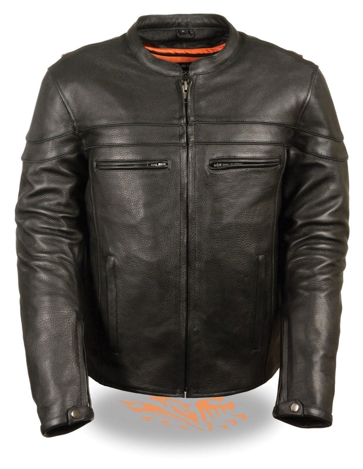 MEN'S MOTORCYCLE REFLECTIVE SCOOTER NAKED SOFT COW LEATHER JACKET W/GUN POCKET (6XL Regular)