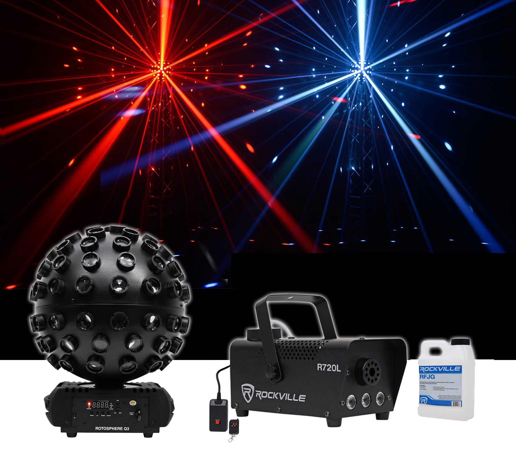 Chauvet DJ Rotosphere Q3 Mirror Ball Dance Floor LED Effect Light + Fog Machine by Chauvet