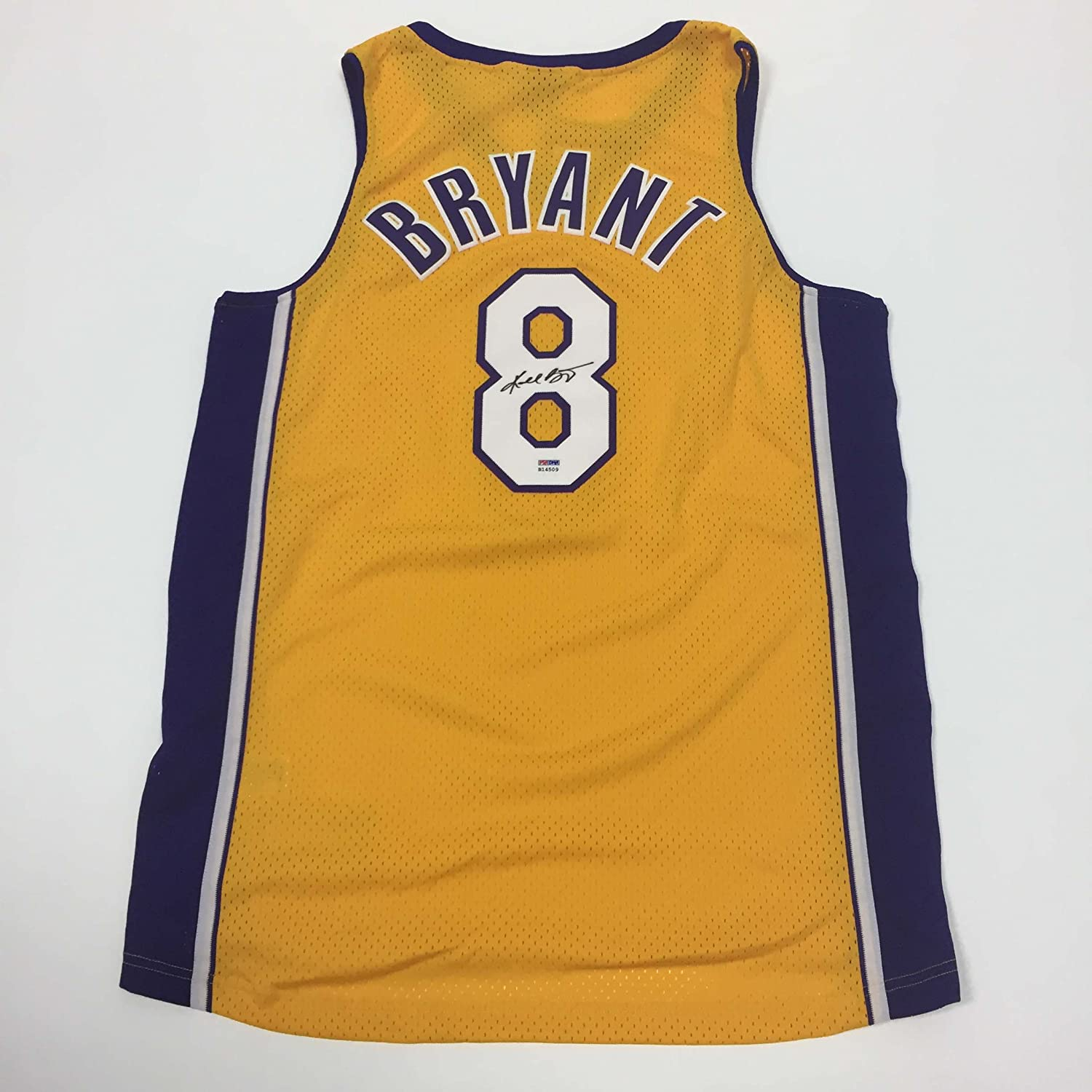 5a0066db575 durable modeling Kobe Bryant Los Angeles Lakers Autographed Yellow Custom  Basketball Jersey