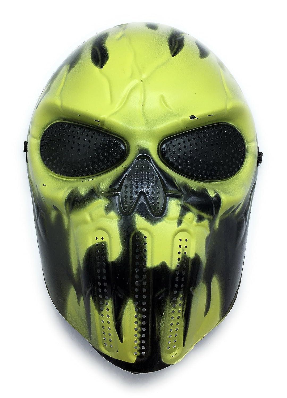 CS mascarilla de protección Halloween Airsoft Paintball Full Face Skull Máscara de esqueleto (Amarillo Claro/Negro): Amazon.es: Deportes y aire libre